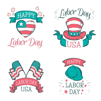Hand drawn labor day usa badge collection