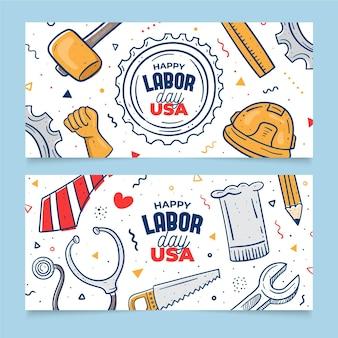 手描き労働日(アメリカ)バナー