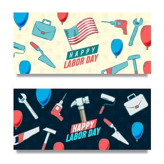 Hand drawn labor day usa banners