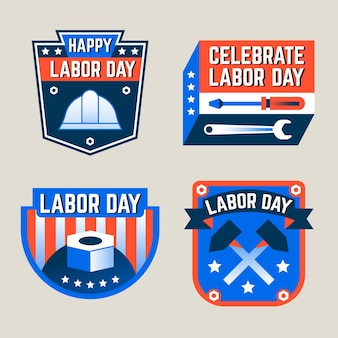 Hand drawn labor day usa labels set