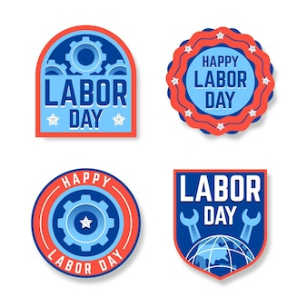 Hand drawn labor day usa labels