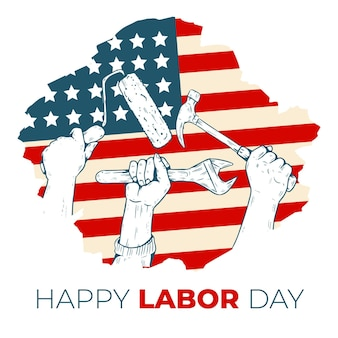 Hand drawn labor day usa