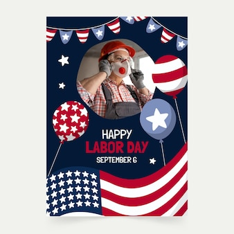 Hand drawn labor day vertical flyer template with photo