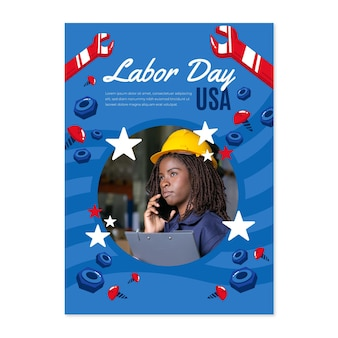 사진과 함께 손으로 그린 노동절 세로 포스터 템플릿