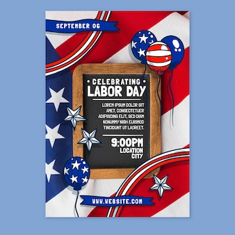 Hand drawn labor day vertical poster template with photo