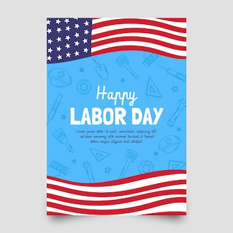 Hand drawn labor day vertical poster template
