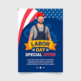 Нарисованный рукой шаблон вертикальной продажи флаера дня труда с фотографией