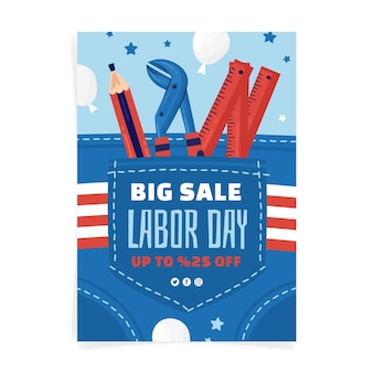 Hand drawn labor day vertical sale flyer template