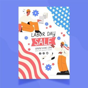 Ручной обращается шаблон вертикальной продажи флаера ко дню труда