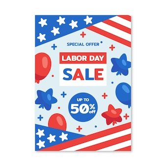 Hand drawn labor day vertical sale poster template