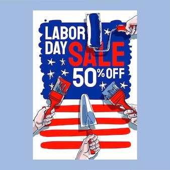 Нарисованный рукой шаблон плаката вертикальной продажи дня труда