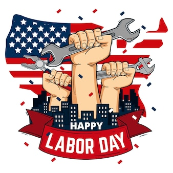 Hand drawn labor day with hands and tools