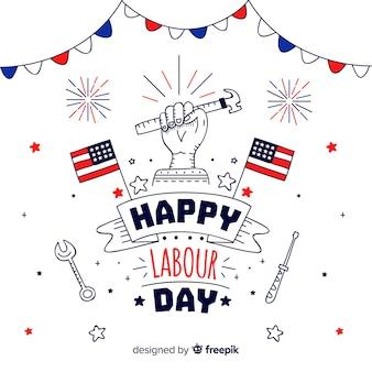 Hand drawn labour day background
