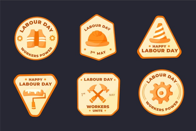 Hand drawn labour day badge collection