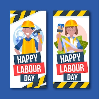手描きの労働者の日のバナーセット