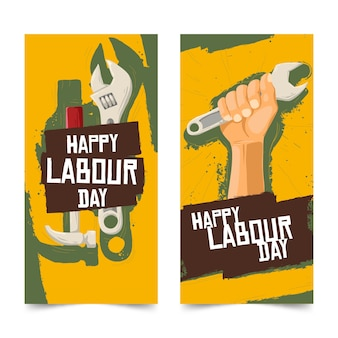 Hand drawn labour day banners template