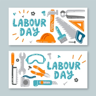 Hand drawn labour day banners