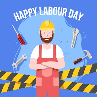 Hand drawn labour day concept