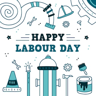 Hand-drawn labour day concept