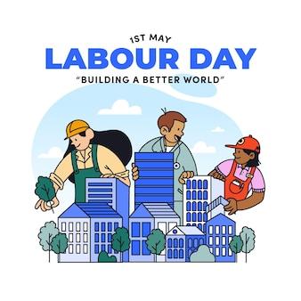 Hand drawn labour day illustration