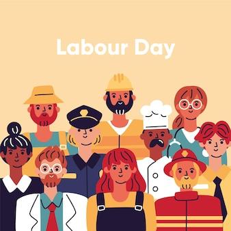 手描きの労働者の日のイラスト