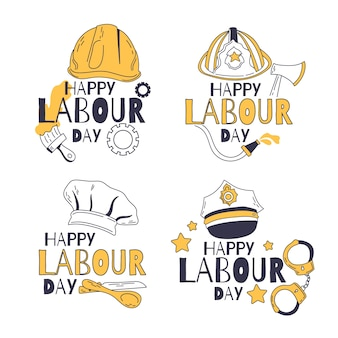 Hand drawn labour day label collection