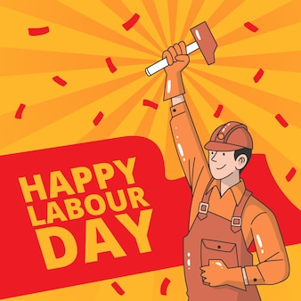 Hand-drawn labour day theme