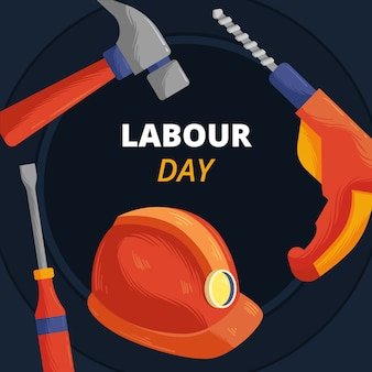 Hand drawn labour day with tools