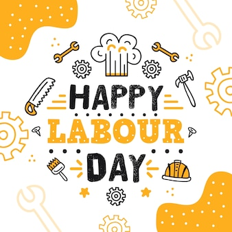 Hand-drawn labour day