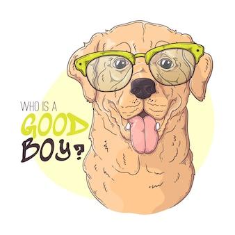 Рука нарисованные лабрадор ретривер собака в очках