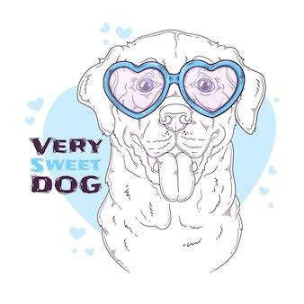 Hand drawn labrador retriever dog with glasses