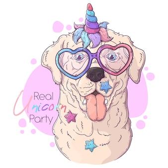 ユニコーンの角を持つ手描きのラブラドールレトリバー犬