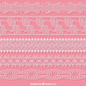 Hand drawn lace borders set