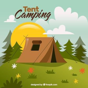 Mano landescape disegnato con una tenda da campeggio
