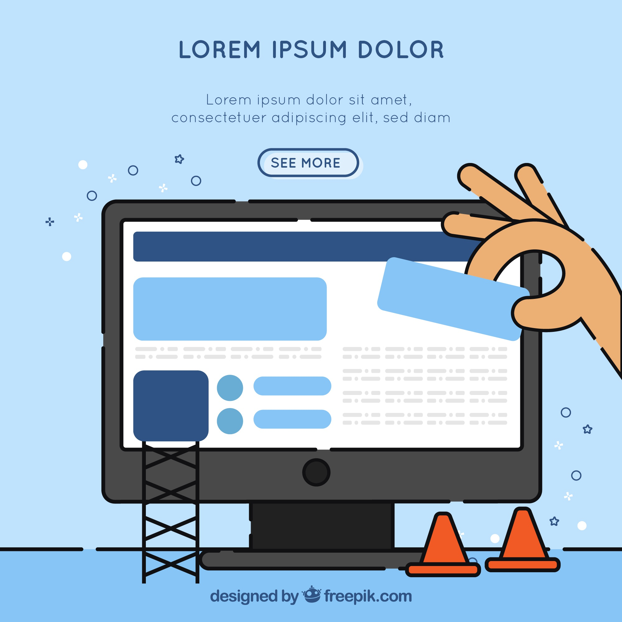 Hand drawn landing page design with construction concept