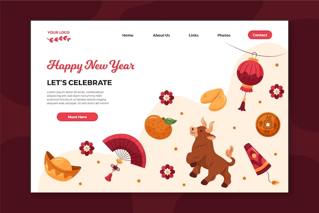 Hand-drawn landing page template for chinese new year