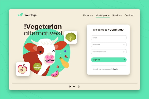Hand drawn landing page template for vegetarianism with cow winking