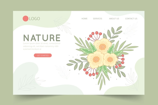 Hand drawn landing page with flowers