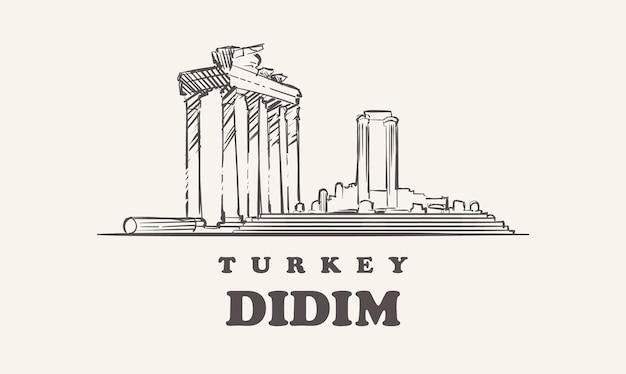 Hand drawn landmarks of didim,turkey
