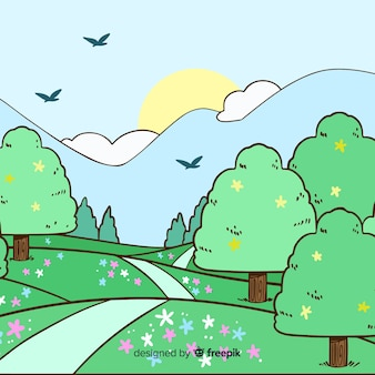 Hand drawn landscape background