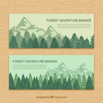 Hand drawn landscape banners