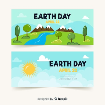 Hand drawn landscape mother earth day banner