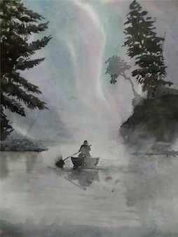Hand drawn landscape painting boat on the river with watercolor on paper