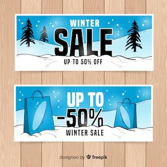 Hand drawn landscape winter sale banner