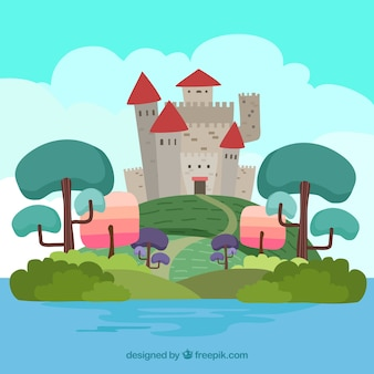 Hand-drawn landscape with castle and colored trees