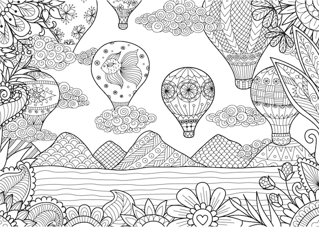 Hand drawn landscape with hot air balloons