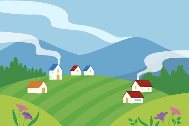 Hand drawn landscape with houses