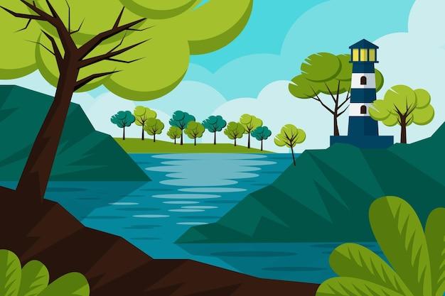 灯台と手描きの風景