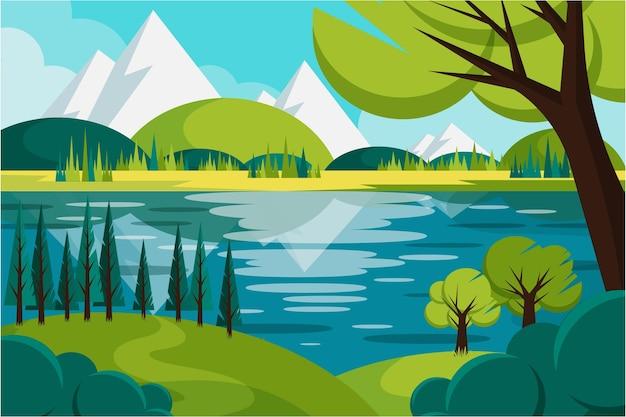 山と手描きの風景