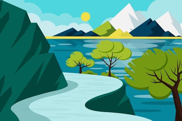 Ручной обращается пейзаж с рекой